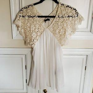 The Kooples lace Metallic blouse